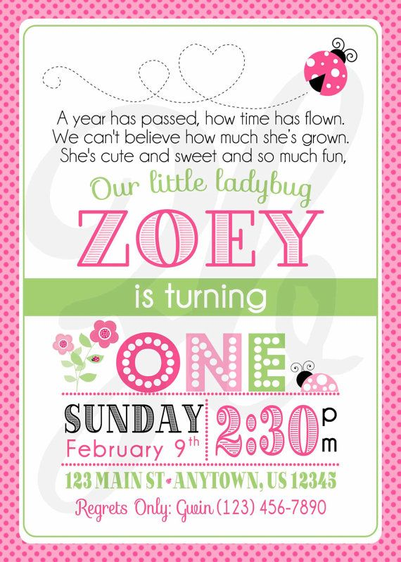 Pink Ladybug Birthday Invitation 1st Birthday by ZoeyBlueDesigns