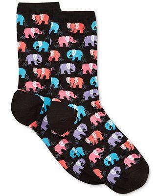 Hot Sox Elephant Crew Sock - Tights & Socks - Handbags & Accessories - Macy's