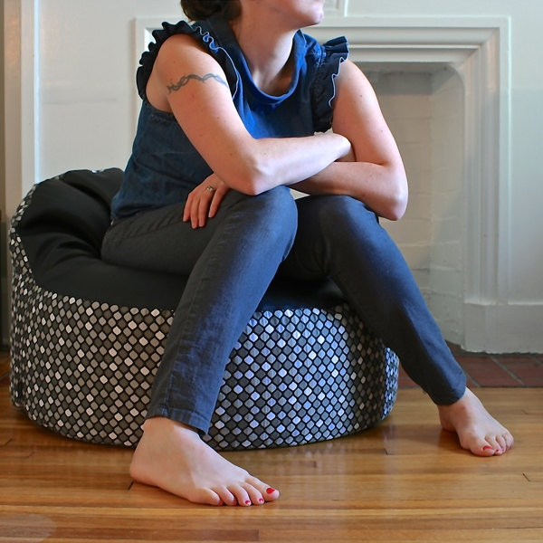 modern bean bag chair cover - made to order - black faux leather & grey mod circles. $125.00, via Etsy.