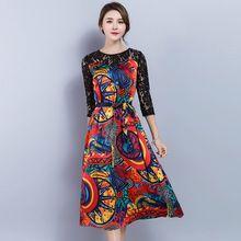2017 nowych moda wiosna lato kobiety odzież skrzydeł kwiaty drukarnie lace patchwork dress pół rękawy o-neck suknie kobiet(China (Mainland))