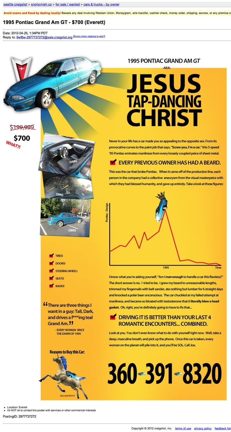 Best car ad ever:): Craigslistad, Craigslist Ad, Jesus Christ, Cars, Funny Stuff, Tap Dancing Christ, Jesus Tap Dancing