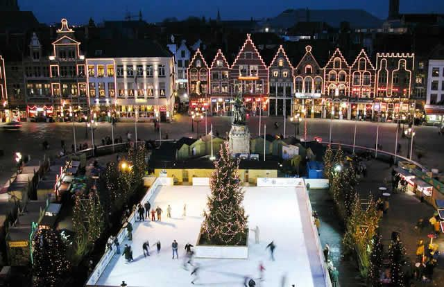bruges christmas market and ice scating ring