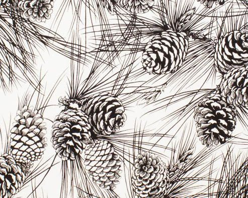 November Pine Black And White Pine Cones Cotton Print