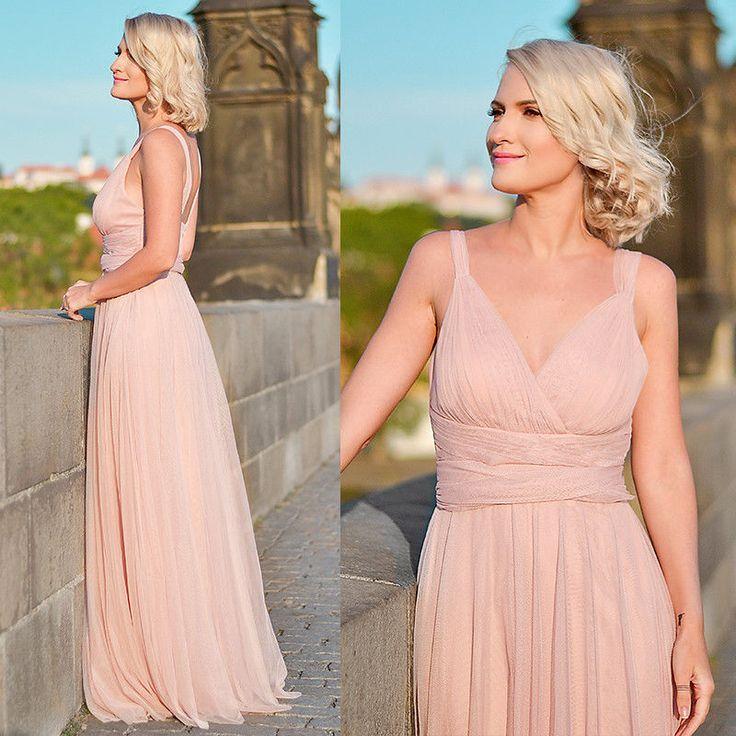 Ever-Pretty Long Chiffon Blush Bridesmaid Dress V-Neck A-Line Evening Gown 07303