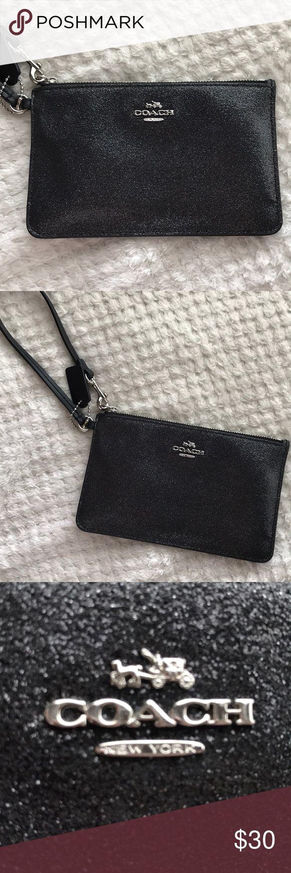 Glittery ✨ Coach Wristlet Authentic Coach Wristlet Dark Gray  Glittery Material Coach Bags Clutches & Wristlets