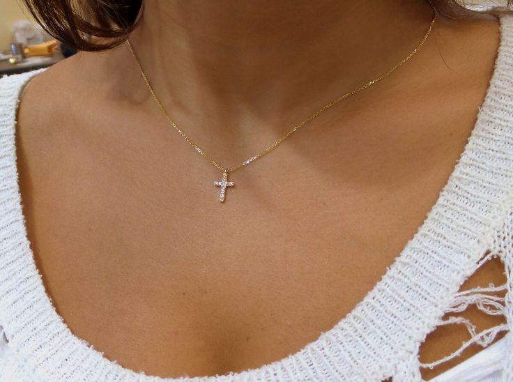 Diamond Cross Necklace 14k Yellow Gold/ 14k Delicate Diamond Cross 0.10ct SI1 Clarity G Color/ Minimal Gold Diamond Cross by DIAMONDFORLOVE on Etsy https://www.etsy.com/listing/224304008/diamond-cross-necklace-14k-yellow-gold
