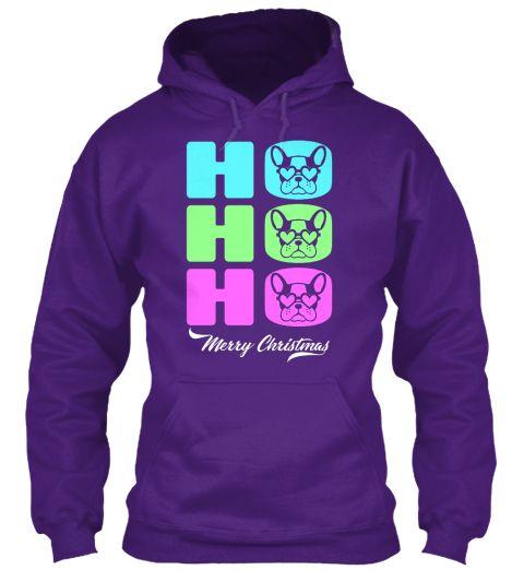 Ho Ho Ho Santa Pug Lover Merry Christmas Purple T-Shirt Front