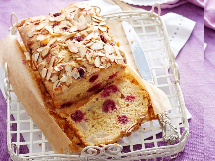 Snack in style with this divine pear and raspberry loaf. It's perfect for morning or afternoon tea, or a work lunchbox treat.