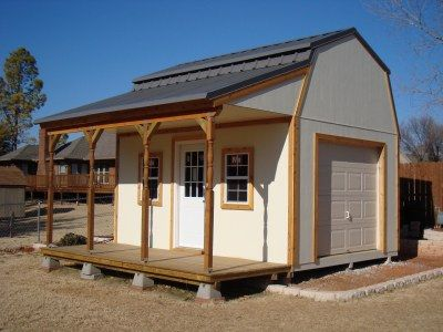 Barn Shed Plan with Side Porch, Small Barn Plans