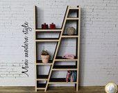Moderne houten bibliotheek ladder 1:12 voor poppen huizen