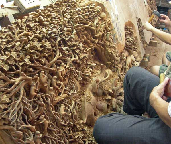 Amazingly detailed wood carving perhaps a wall or ceiling