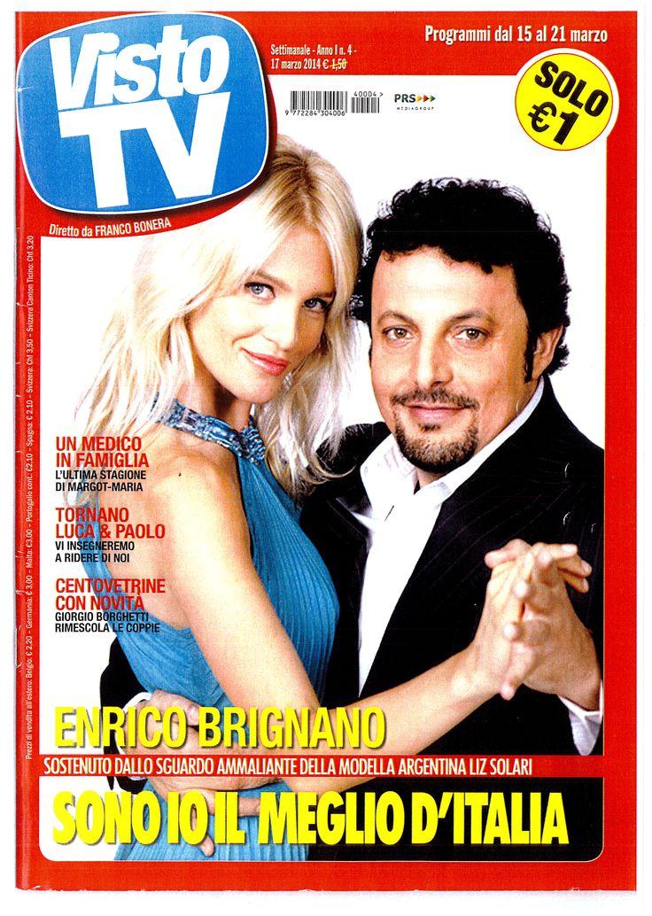 Liz Solari e Enrico Brignano Cover Visto TV Liz Solari Indossa Pastore Couture #lizsolari #pastorecouture #pastorepress #etabetaprendorsement