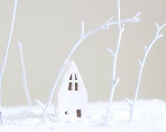 Christmas cake decoration white clay church. Ceramics and pottery house handmade little ceramic buildings  UK shops. British ceramics