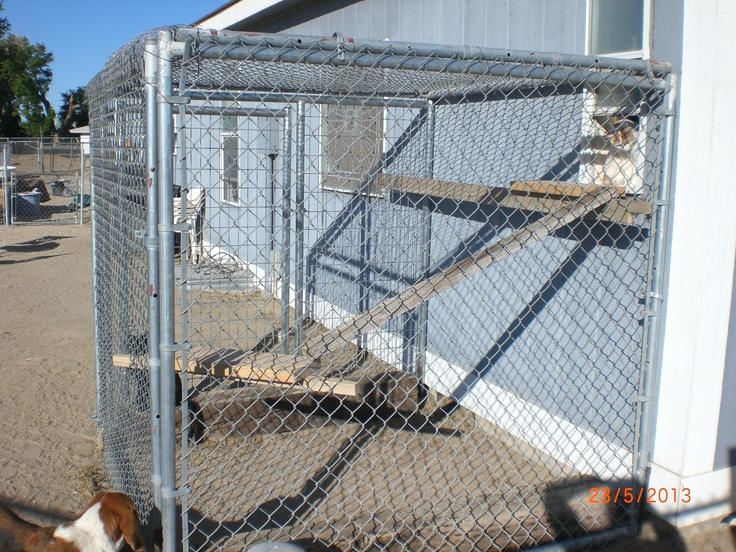 I used another pin (on my pinned it...tried it..success board) for inspiration for this cat enclosure.  This whole enclosure cost us $150. It would have been zero except that we did not have a panel that had a gate in it and had it made. We reused chain link dog run panels that we already had. This is not attached to the house either. We used form stakes to secure it it each corner on the ground. We have very high winds here so we needed to make it sturdy for withstanding the…