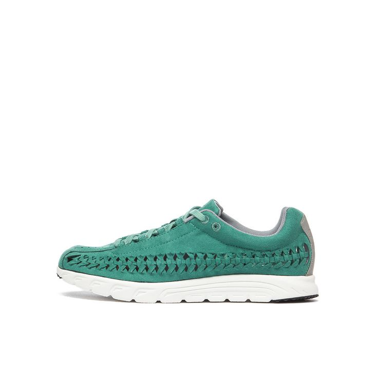 Lightweight woven sneaker in jade. Suede and leather upper with woven  details.