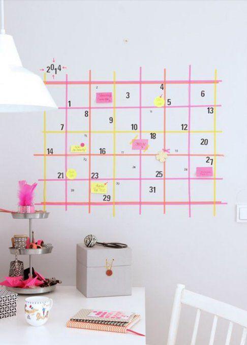 Créer un calendrier avec du masking tape, masking tape, diy, wall, réaliser un calendrier homemade