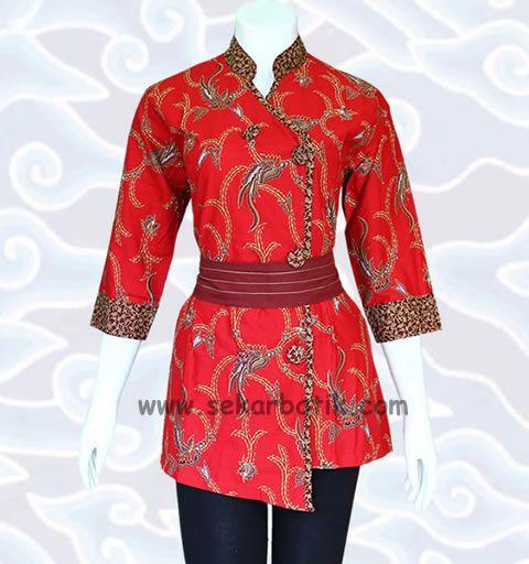blus batik merah motif pekalongan BB25 di katalog blouse batik http://sekarbatik.com/blus-batik/   koleksi lainnya bisa dilihat di toko batik online sekarbatik.com