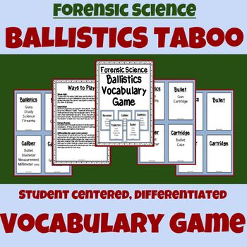 Forensic Science - Ballistics Vocabulary Game - Taboo