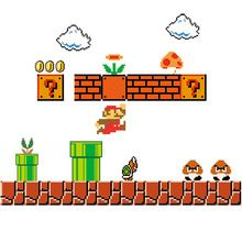 Removable Super Mario Bros Wall Stickers Pixel Art Grid Cartoon Wall Decals for Kids Baby Rooms Home Decoration WallPaper Poster(China (Mainland))