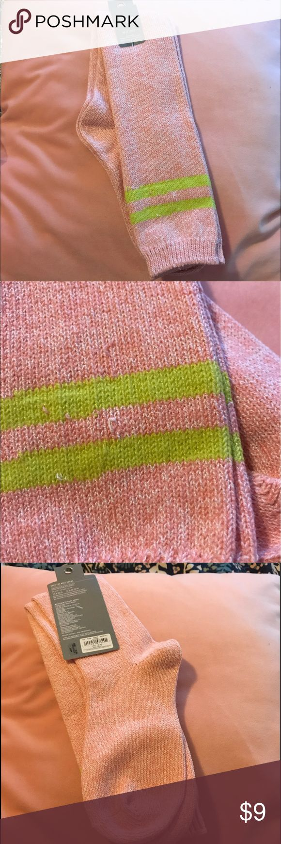NWT aerie over the knee socks Never worn, tags still attached. Pastel pink with neon yellow detail. Comes over the knee on most people. Super soft and comfy. Don't forget to ask any questions you may have. I also offer 20% off all bundles of two or more listings. aerie Accessories Hosiery & Socks