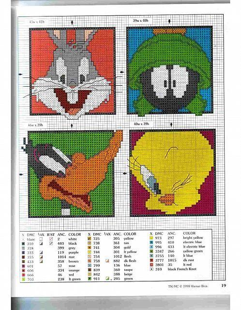 piastrelle punto croce Bugs Bunny Marvin il marziano Duffy Duck e Titti