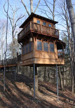 this two story 300 square foot treehouse is environmentally friendly and includes all the complete comforts of a home you could need - Two Story Tree House Plans