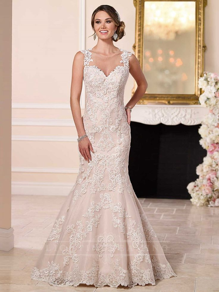 Straps Sweetheart Neckline Lace Wedding Dress with Illusion Back