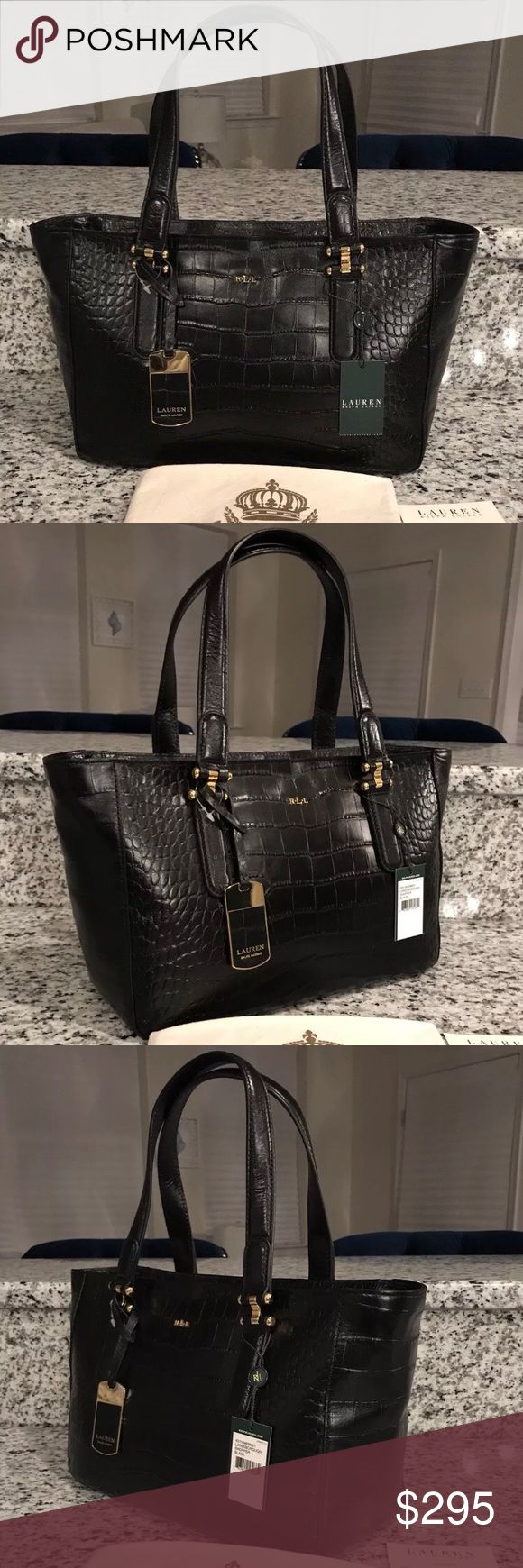 ⭐️Lauren Ralph Lauren NWT Lanesborough Leather Bag STUNNING!!! New With Tags! The GORGEOUS & RARE Lauren Ralph Lauren Lanesborough Shopper Leather Tote Satchel Shoulder Handbag Purse in a RICH Black Color! This BEAUTIFUL Lauren Ralph Lauren Bag will come with Tags, Care Card, Original Stuffing & Lauren Ralph Lauren Dust Bag!!! Purchased at a High-End Department Store. This is a GORGEOUS croc embossed leather which resists scratches, so this beautiful, classic black leather bag will stay…
