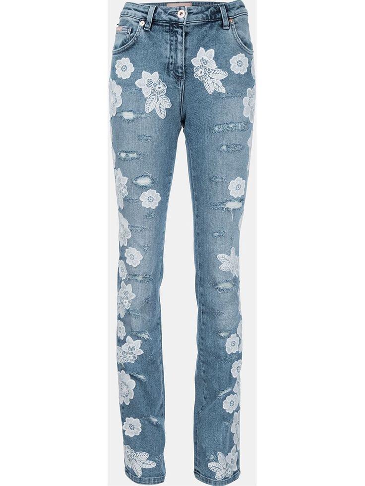 Blumarine Calça jeans com aplicações de renda