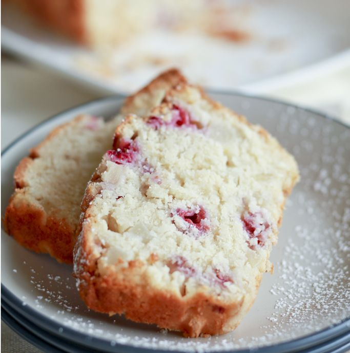 FAST ED: PEAR, RASPBERRY & COCONUT BREAD. Ed's other version of this uses 2 cups SR flour, 125g caster sugar & substitutes the coconut cream with 1 cup natural yoghurt (also omit the desiccated coconut). Use 400g tin of sliced pears, drained and diced.