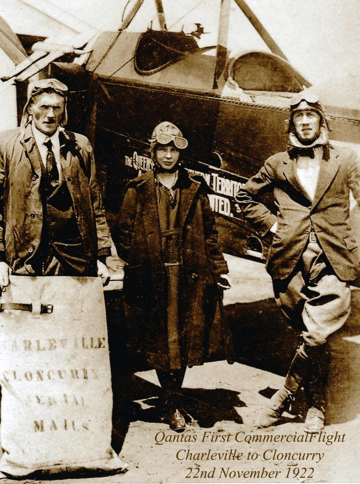 Pilot and passenger #1 on Qantas first Commercial Flight from Charleville to Cloncurry. Original shareholder, McMasters, holding mail-bag.