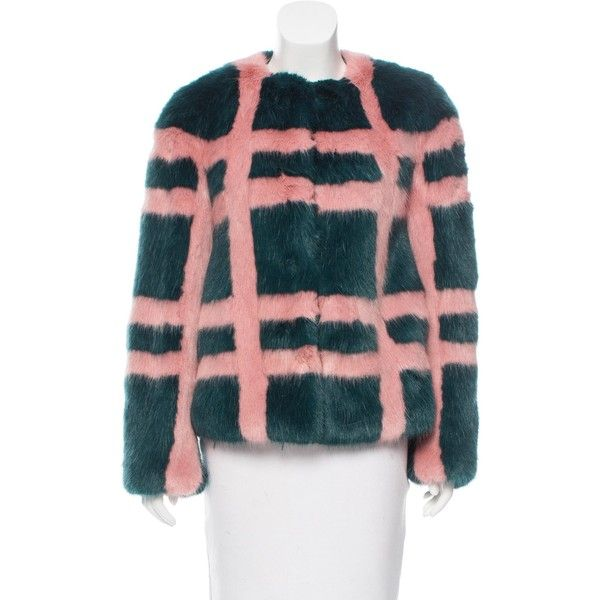 Pre-owned Shrimps Patterned Faux Fur Coat ($375) ❤ liked on Polyvore featuring outerwear, coats, green, red coat, j.crew coats, red faux fur coat, shrimps coat and print coat