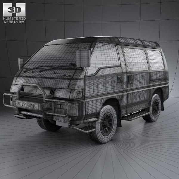 Mitsubishi Delica 4x4 Camper Elevating: Mitsubishi Delica Star Wagon 4WD 1986 3d Car Model