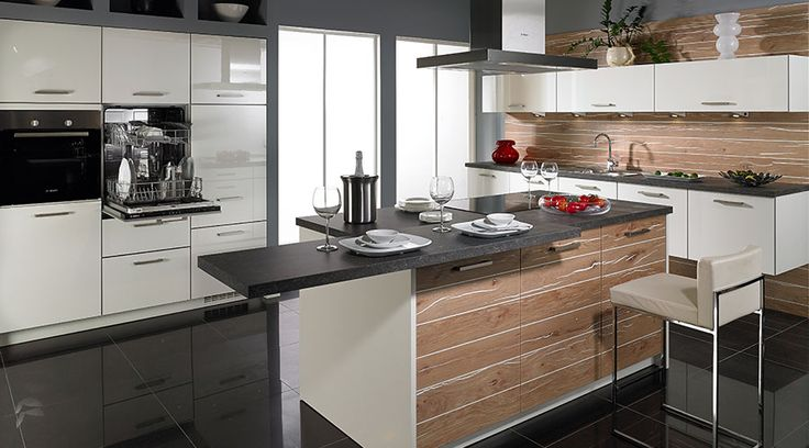 Die küche in premiumweià en lackfronten und kunststoff eiche