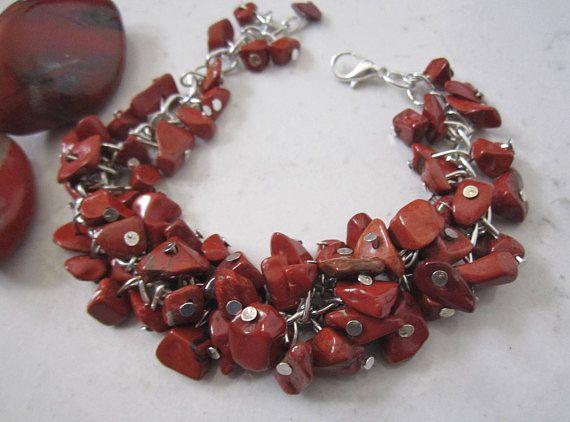 Red Jasper Bracelet Crystal Cluster Bracelet Natural Gemstone Bracelet Chip Bracelet Gift For Women For Mom Bohemian Boho Bracelet
