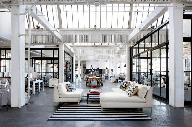 """The interiors of the fashion site's startup office in Red Hook, Brooklyn, were designed with budgets in mind. """"We purposely didn't use anything that wouldn't fit into what..."""