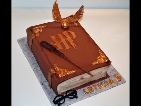 Cake decorating tutorials - how to make a 3D Harry Potter book of spells cake - Sugarella Sweets - YouTube