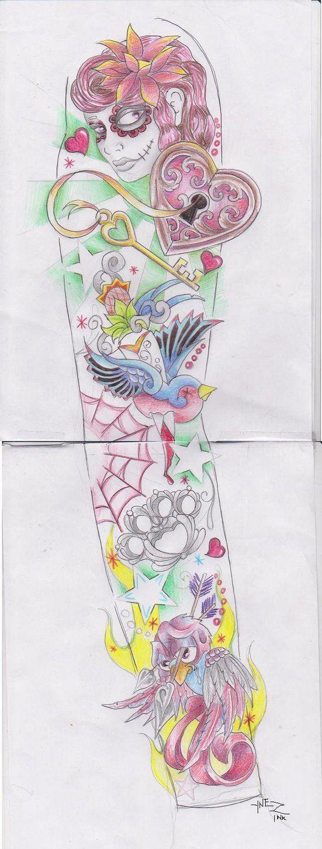 Girly sleeve by KymYnez on deviantART tattoos Tattoos