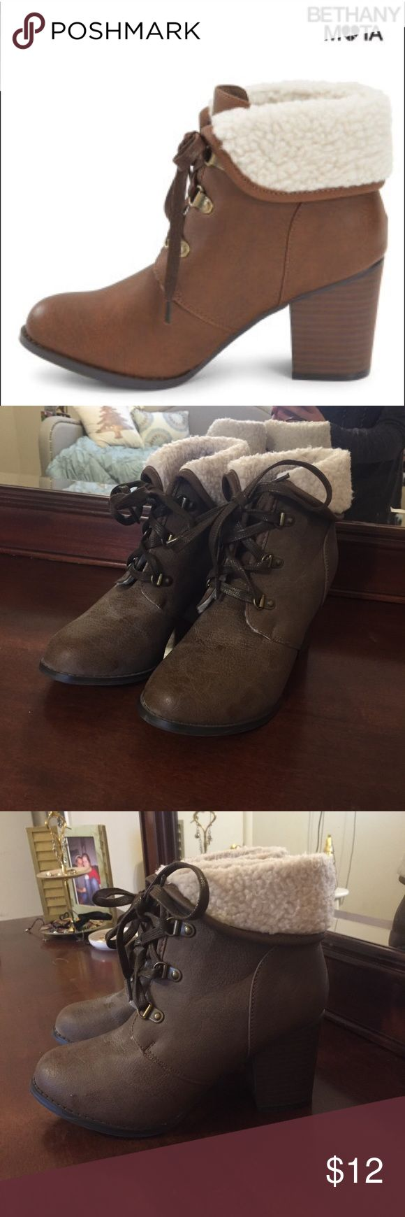 Bethany Mota Boots Same color as first picture, it's just dark in my room. Worn about 3 times they were just a little big on me. No flaws just dust on them from being in the top of my closet Aeropostale Shoes Ankle Boots & Booties