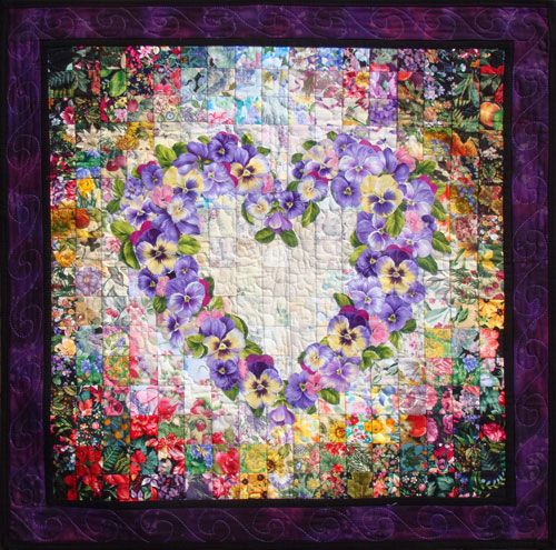 Watercolor quilts -  Just love and will hopefully do one dayQuilt Ideas, Heart Pansies, Quilt Kits, My Heart, Heart Quilt, Artists Quilt, Heart Watercolors, Quilts Watercolors, Watercolors Quilt