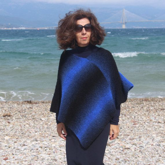 Back and Blue Knitted Poncho  Winter Poncho  Hand by ManibusFacta