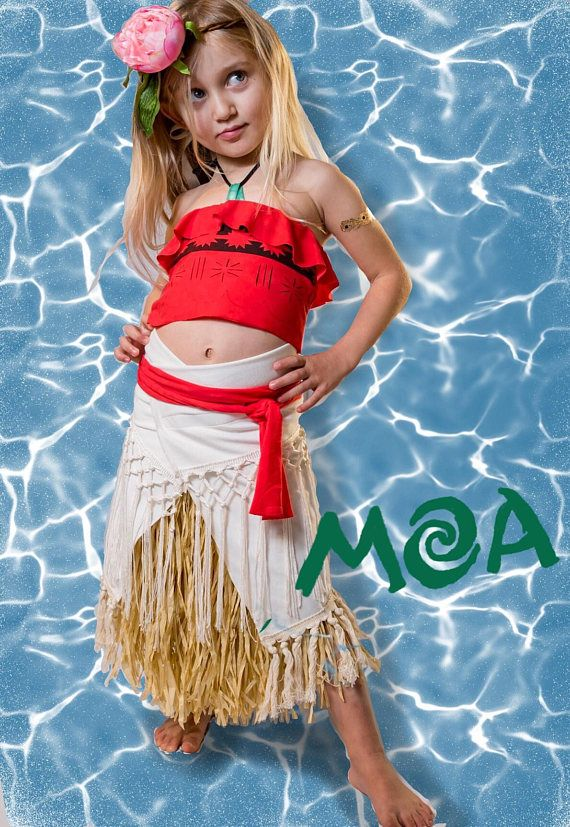 Moana costume fancy dress halloween kids girl Disney Hawaiian