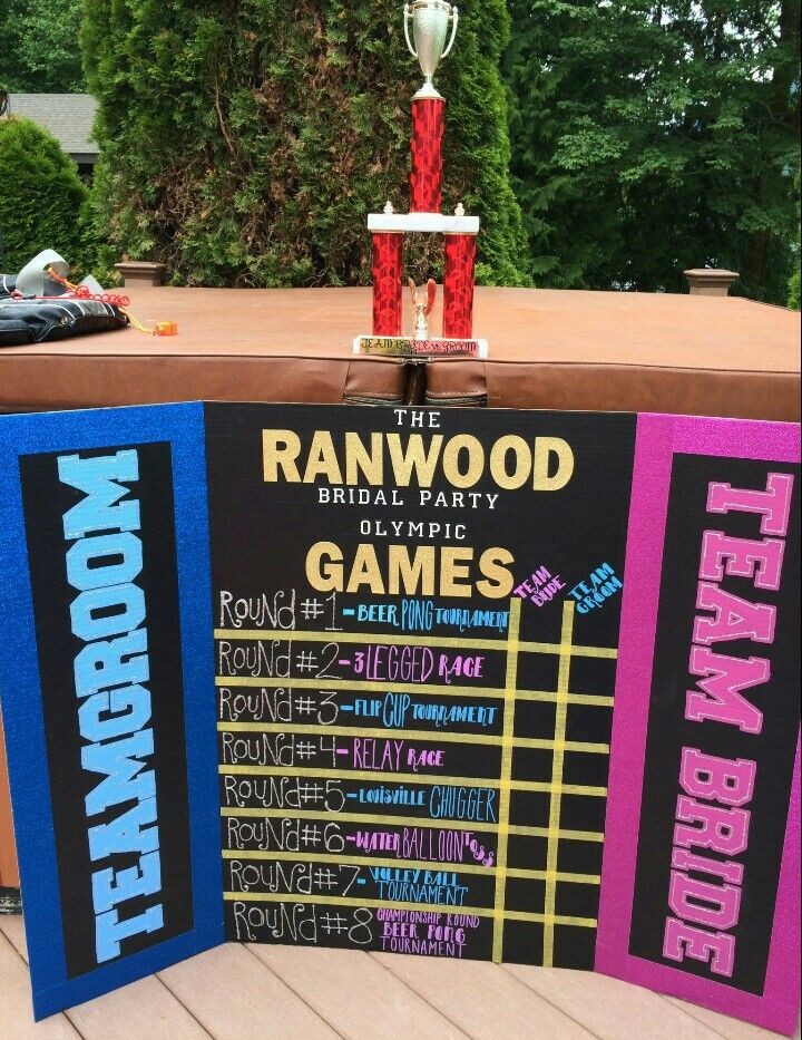 Bridal party Olympics scoreboard!