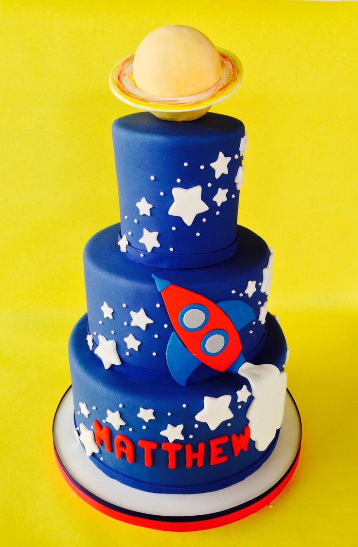Saturn, Stars, Rocket ship, Space, birthday cake, universe, galaxy