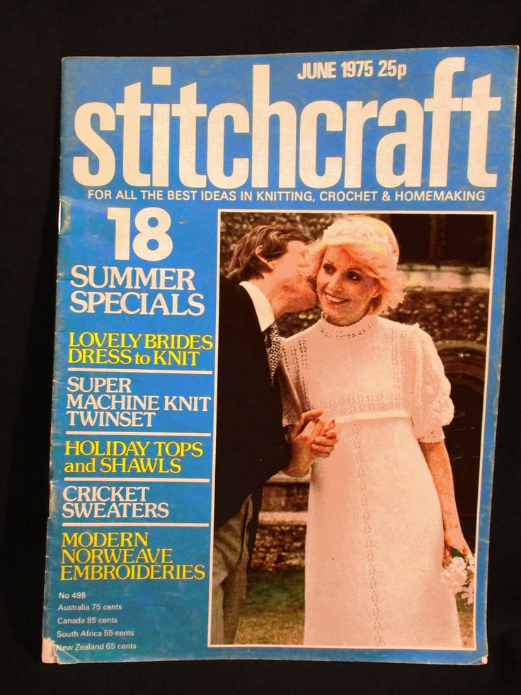 1970s Stitchcraft Magazine Knitting Crochet Embroidery Needlecraft Knit Bride Bridal Gown Pattern Baby Sweater Shawl Cushion June 1975 by RuthsGreenTreasures on Etsy
