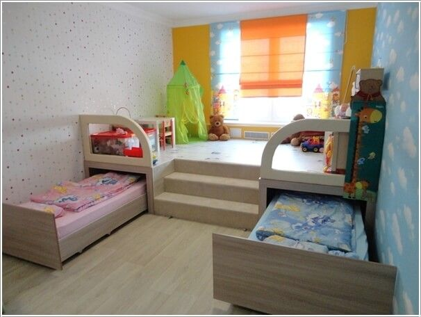 Build a Platform and Use It as an Activity Area and Tuck in Trundle Beds Underneath It to be Rolled Away When not Needed