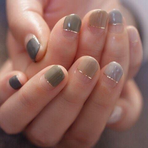 Abstract nail art, minimalistic nail colors, good nail style for growing out