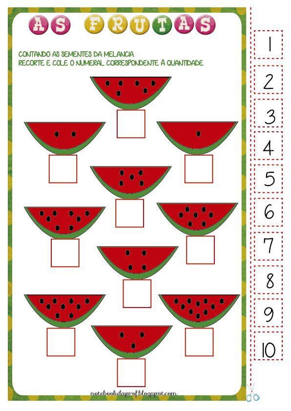 Projeto Frutas, atividade Frutas, frutas, recorte e cole, contagem, números, classifique,