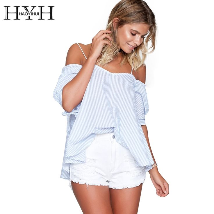 Find More Blouses & Shirts Information about HYH HAOYIHUI 2017 Striped Backless Strap Tops Women Sexy Off Shoulder Preppy Blouses Casual Loose Summer Pleated Shirt Blusas,High Quality preppy blouse,China pleated shirt Suppliers, Cheap blouse casual from HAOYIHUI MODA Store on Aliexpress.com
