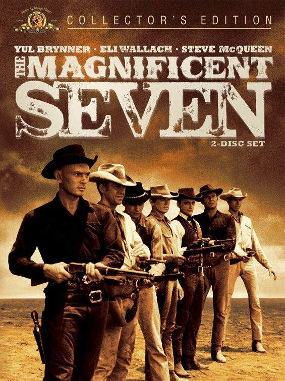 The Magnificent Seven - directed by John Sturges and starring Yul Brenner, Steve McQueen, Charles Bronson, James Coburn, Robert Vaughn, Brad Dexter, Horst Buchholz and Eli Wallach. A great western I rented today based on Akira Kuirasawa's Seven Samurai.